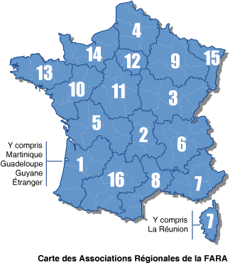 Carte des Associations Régionales de la FARA
