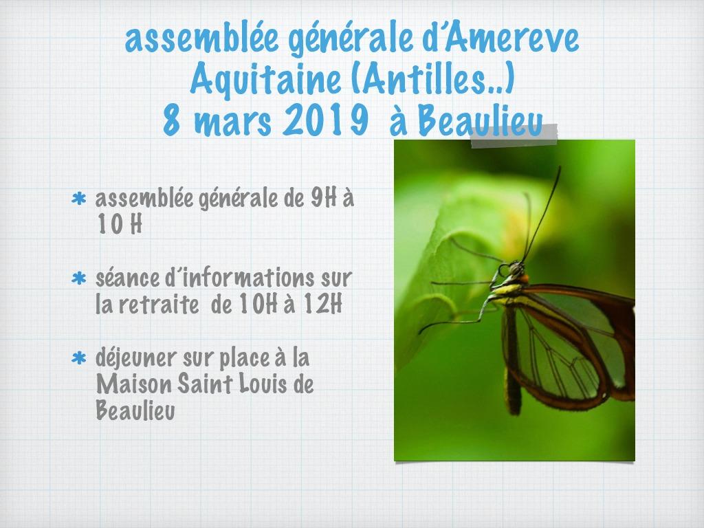 ASSEMBLEE GENERALE AMEREVE AQUITAINE 8/3/2019