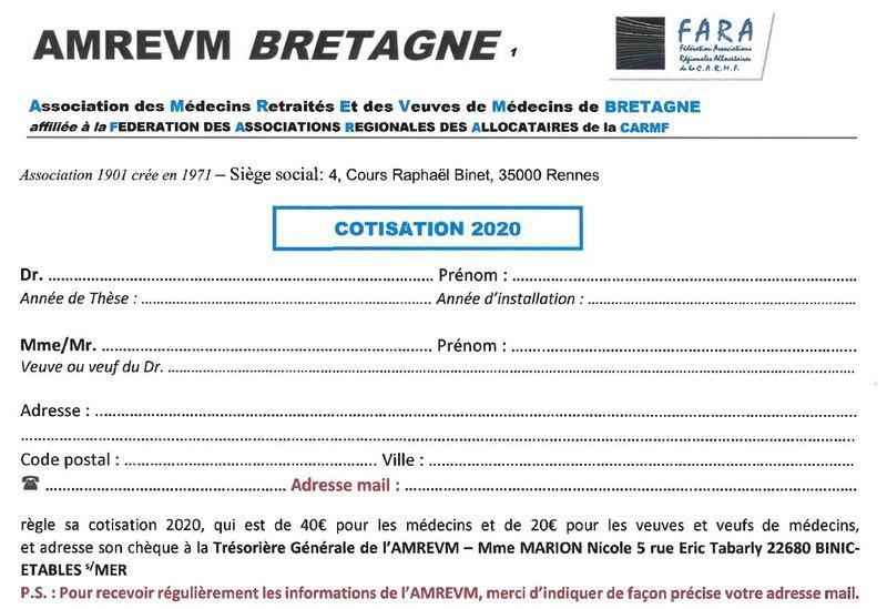 BULLETIN DE COTISATION 2020